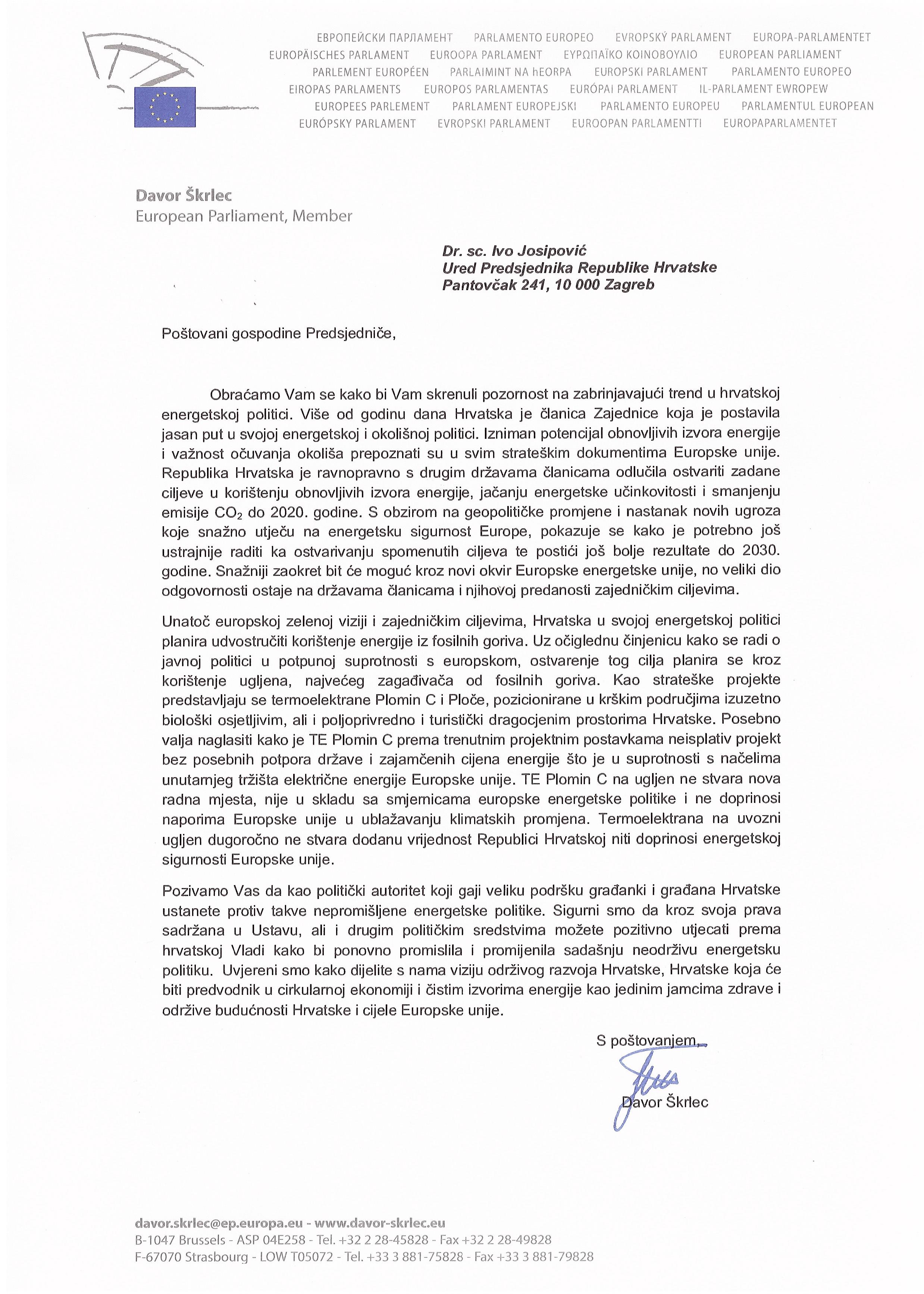 Otvoreno pismo Zelenih zastupnika u Europskom parlamentu Predsjedniku Josipoviću-1